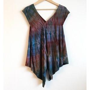 Tie dye asymmetrical trapeze tunic